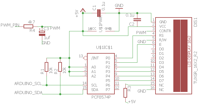 Circuit example for wiring display via 8574