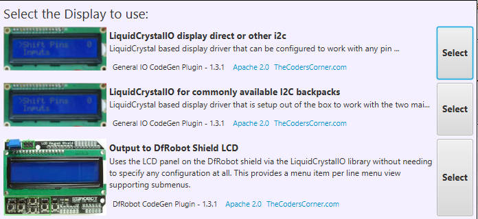 TcMenu - Rendering menus to LCD using LiquidCrystalIO library · The